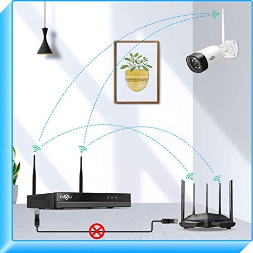 【2K,Two Way Audio】Hiseeu Wireless Security Camera System,1TB Hard Drive,4Pcs 3MP Cameras 8Channel NVR,Mobile&PC Remote,Outdoor IP66 Waterproof,Night Vision,Motion Alert,Plug&Play,7/24/Motion Record