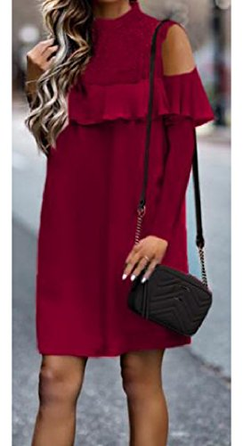 Cold Comfy Dress Drape Wine Red Women Fit Floral Shoulder Silm Flounced Lace Up CwAtvwrq
