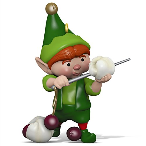 - Hallmark Keepsake Christmas Ornament 2018 Year Dated, North Pole Tree Trimmers Elf Stringing Popcorn