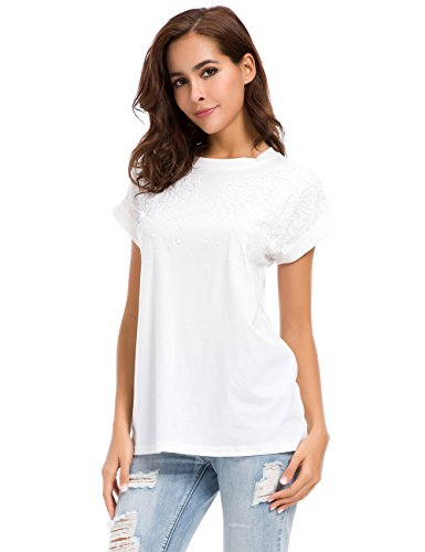 MOQUEEN Womens Short Sleeve Loose Fitting Sparkle Sequins Tops Cotton T Shirts, White, US 6