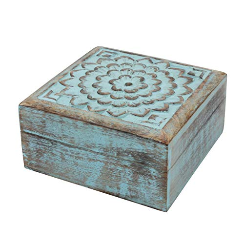 (Stonebriar Vintage Worn Blue Floral Wooden Keepsake Box with Hinged Lid, Storage for Trinkets and Memorabilia, Decorative Jewelry Holder, Gift Idea for Birthdays, Christmas, Weddings, or Any Occasion)
