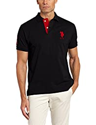 U.S. Polo Assn. Men\'s Slim Fit Solid Polo with Contrast Striped Underside Of Collar, Black, Large
