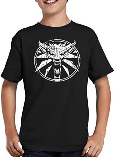 Circle Wolf Medallion Gamer T-Shirt Kinder