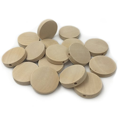 Wendysun 100Pcs Natural Wood Beads 20mm Geometric Round Flat Beads Modern Jewelry Necklace Supply DIY Toy Accessories ()