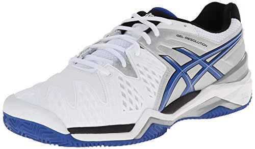 ASICS Men's Gel-Resolution 6 Clay Court Tennis ShoeWhite/Blue/Silver8 M US