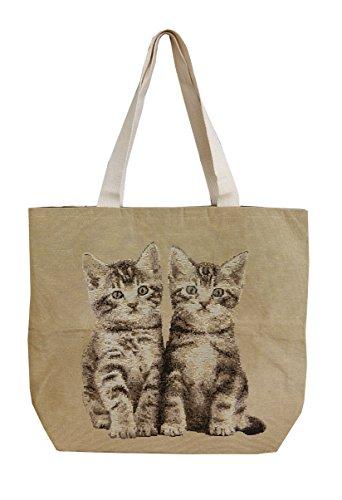 Borsa intrecciata con 2 gatti
