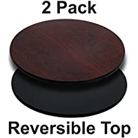 Flash Furniture 2 Pk. 36 Round Table Top with Black or Mahogany Reversible Laminate Top