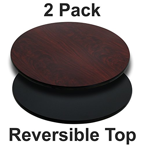 Flash Furniture 2 Pk. 36'' Round Table Top with Black or Mahogany Reversible Laminate - 36 Top Round