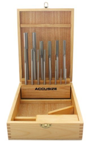 (Accusize Industrial Tools 14 Pc Over and Under Size H.S.S. Chucking Reamer Set, 0.1240'' thru 0.5010'', in Fitted Case, 5500-SX00)