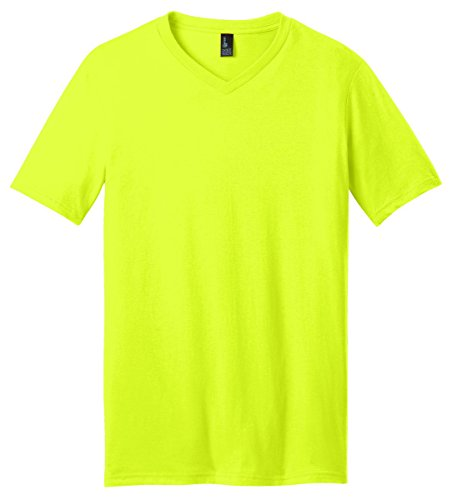 District Young Men's V-Neck Short Sleeve Concert T-Shirt_Neon Yellow_L