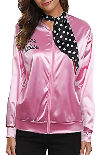 Mlxgoie Pink Ladies Satin Jacket Zipper Retro 1950s Women Cosplay Costume Fancy Dress Props, for Themed Party, Halloween, with One More White Neck Scarf (Medium, Pink) -