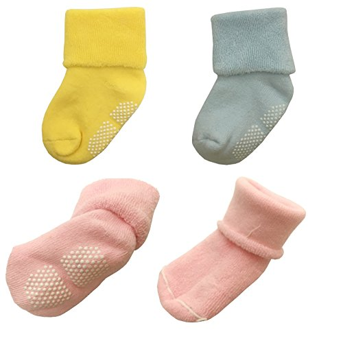 Tdeal 5 Pack Baby Toddler Sock Anti Slip Non skid Sole