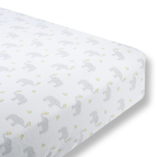 SwaddleDesigns Cotton Crib Sheet, Made in USA, Premium Cotton Flannel, Elephant and Pastel Yellow Chickies