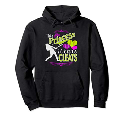 This Princess Wears Cleats Girls Softball Pullover Hoodie