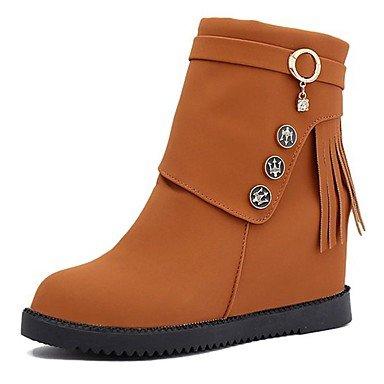 RTRY Women'S Shoes Pu Fall Winter Combat Boots Boots Flat Heel Round Toe Mid-Calf Boots Zipper Tassel For Casual Yellow Black US5.5 / EU36 / UK3.5 / CN35