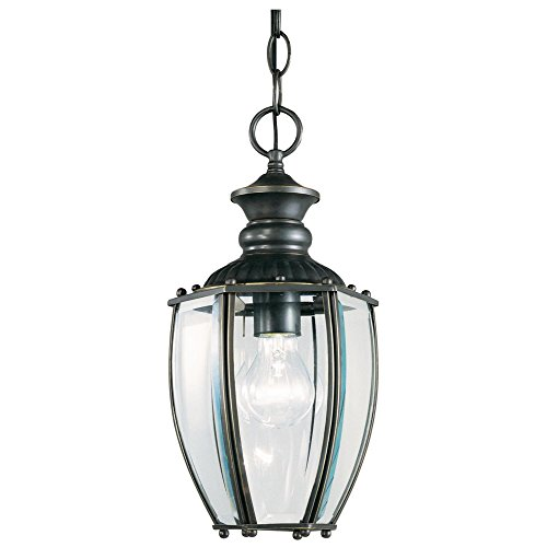 Westinghouse Lighting 6982300 One-Light Dual-Mount Exterior Pendant, Weathered Bronze Finish on Solid Brass with Clear Curved Beveled Glass Panels (Westinghouse Outdoor Fixtures Solid Brass)
