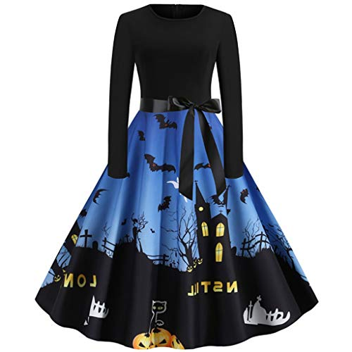 Aunimeifly Halloween Night Print Patchwork Ladies Dress Waist Bow Tie Long Sleeve A-line Vintage Dresses Dark Blue]()