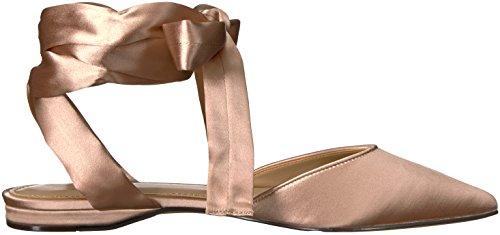 The Fix Womens Priscilla Spiss Tå Lisse-up Ballett Flat Blad Blush Satin