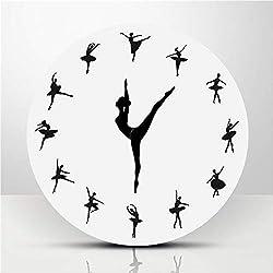 HFJKD Modern Frameless Large 3D DIY Wall Clock Kit Decoration Home for Living Room Bedroom Acrylic Dance Clock Ballet Dance Classroom Decoration,B