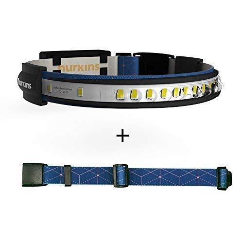 Hurkins Orbit, 180˚ Wide Angle Rechargeable Headlamp (Navy, Orbit+Extention Belt)