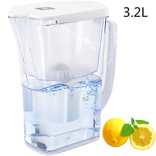 Shop Beyond Borders Water Filter Pitcher Purifier with Filter Strong Removing Harmful Contaminants Chlorine Metals or Sediments for Healthy Drinking, Total 150L for The Filter, 0.5L/min, White (Best Water Filter For Removing Chlorine)