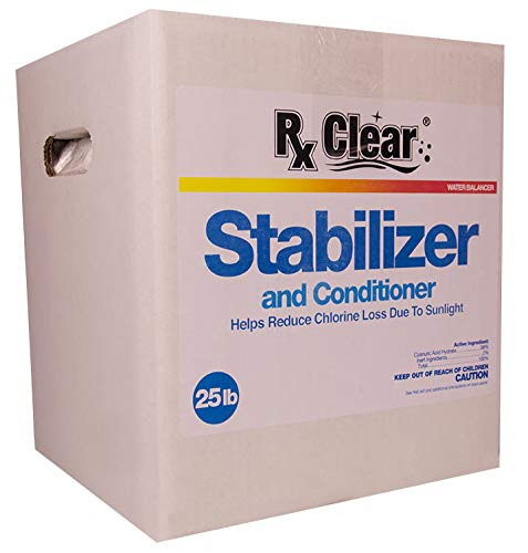 Rx Clear Swimming Pool Conditioner | Chlorine Stabilizer | Cyanuric Acid for Swimming Pools | Longer Lasting Sanitation | 25 Lbs