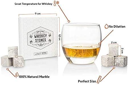 12 piedras de whisky de mármol. Rocas de whisky premium. Juego de piedras de enfriamiento con bolsa de almacenamiento especial. Cubitos de hielo reutilizables naturales (Gris)