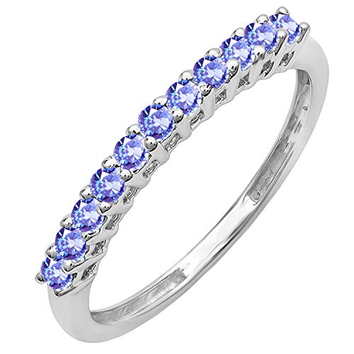 10K White Gold Round Tanzanite Anniversary Stackable Wedding Band 1/3 CT (Size 7) - Tanzanite White Gold Band