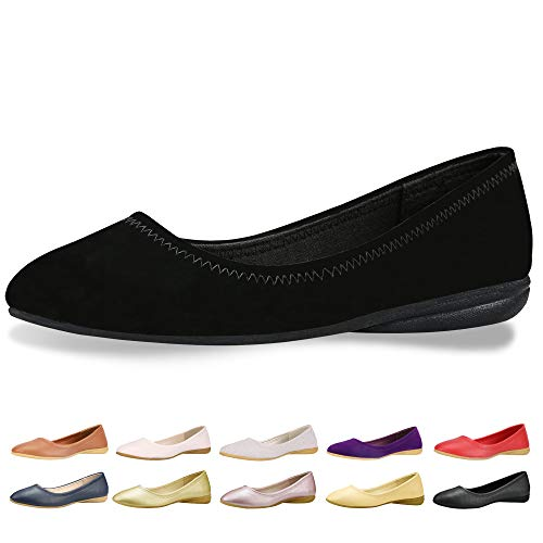 CINAK Flats Shoes Women- Slip-on Ballet Comfort Walking Classic Round Toe Shoes (9-9.5 B(M) US/ CN41 / 10'', Black Matte) (Best Casual Shoes For Flat Feet)