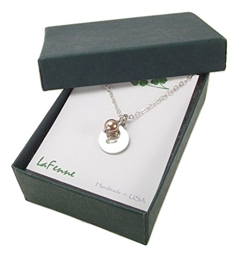 Personalized Initial Necklace with Swarovski Elements Simulated Pearl