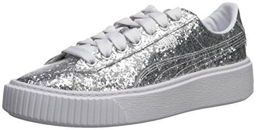 - PUMA Women's Basket Glitter Wn Platform, Silver-Silver, 6.5 M US
