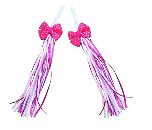 Elandy 1Pair(2PCS) Bike Handlebar Streamers-- Pink Colorful Ribbons Accessories for Childrens Bicycle Handlebar Bowknot Design Tassels /Trike Scooter Handgrip