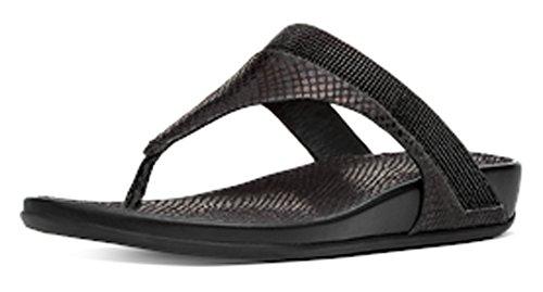 Fitflop Mujeres Banda Serpiente Sandalias De Cristal Negro Negro - negro