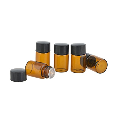 Enslz 50 Pcs Essential Oil Bottles 2 ml (5/8 dram) Amber Glass Bottle with Orifice Reducer and cap, With 2 Free Transfer Eye - Price Ferrari Latest