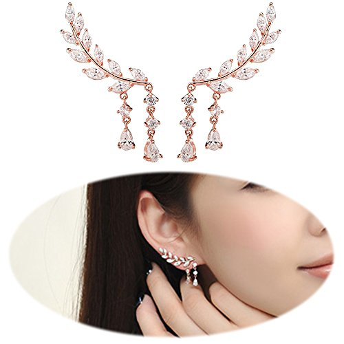 Ear Climber Earrings Leaves Crawler Chandelier Ear Cuff Vine Wrap Pin Crystal Pierced Stud Tassel Jewelry Rose Gold - Pierced Earrings Elegant Rose