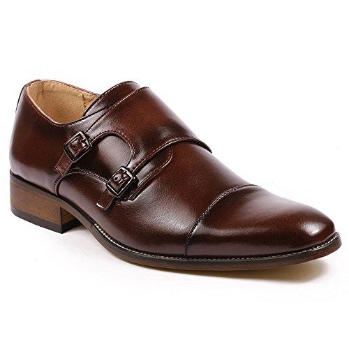 Metrocharm MC103 Mens Double Monk Strap Cap Toe Slip On Loafers Dress Shoes