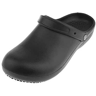 Lovoski Unisex Anti-Slip Chef Clog Oil Water Resistant Work Flat Shoes Safety Footwear - Black, EU36-37