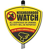 Neighborhood Watch Reflective CCTV Surveillance Camera Warning Alarm Yard Sign. DONT FALL VICTIM to thieves and burglars!