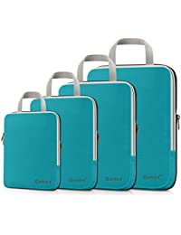 Compression Packing Cubes Set, Expandable Packing Organizers 4pcs (Blue)