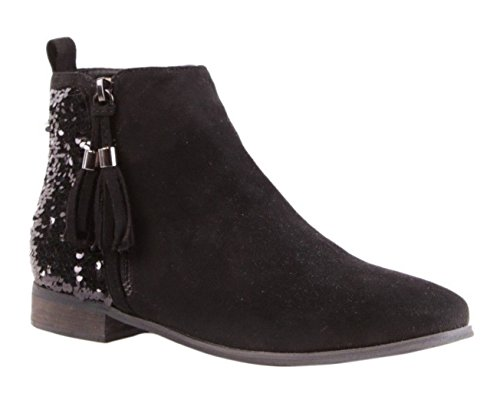 Womens Ladies Faux Suede Sequinned Tassel Zip Up Flat Low Heel Ankle Shoes Boots - I35 Black uGwW8lPC