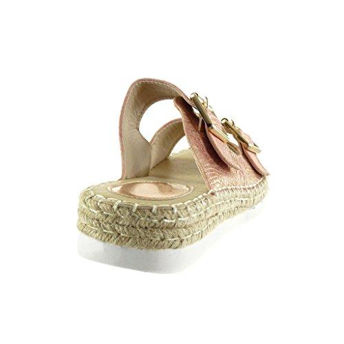 Espadrilles Damen Krokodil Angkorly Sohle Sneaker 3 5 Schlangenhaut Schuhe Rosa Sandalen Seil Cm Keilabsatz qtTqdH0w