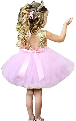 Little Girls Shiny Sequins Birthday Party Dance Dress 3 to 4,Pink