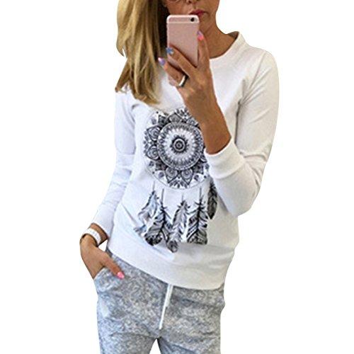 Colore T Girocollo Donna Bianca XL Felpa V e Cappuccio Manica Felpa Dimensione Cappuccio Shirt con Stampata a Yingsssq con Rosso Girocollo Lunga Scollo da gYPqBnnH