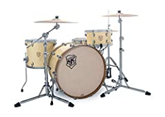 """3-piece Mahogany/Maple/Poplar Shell Pack with 13"""" Tom, 16"""" Floor Tom, and 24"""" Bass Drum - Custard Matte Lacquer"""