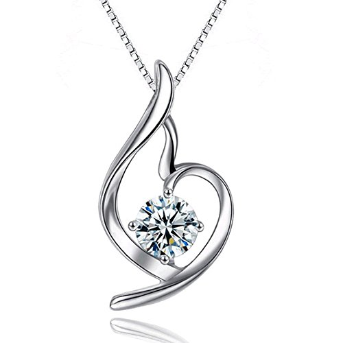 silver necklace for women_crystal cubic zirconia pendant necklace_charm chain necklace_hypoallergenic necklace jewelry accessories_love heart pendant necklace