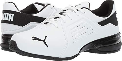PUMA Men's VIZ Runner Sneaker White blac, 9 M US (Best Puma Running Shoes)