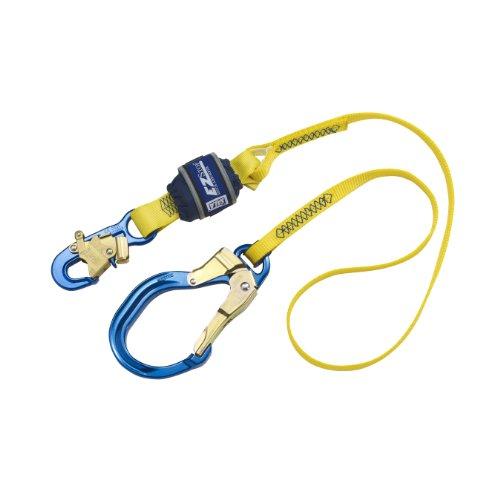 3M DBI-SALA EZ-Stop 1246103 6' Shock Absorbing Lanyard, Aluminum Snap Hook At One End, Alum Rebar Hook Other End, 310  lb. Capacity, Yellow/Navy