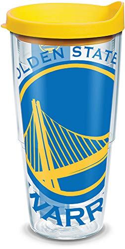 Tervis 1126914 NBA Golden State Warriors Colossal Tumbler with Wrap and Yellow Lid 24oz, Clear