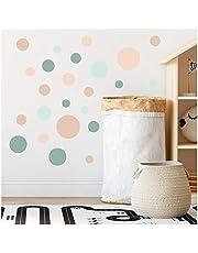yabaduu Zelfklevende folie met cirkelvormige stippen, 100 stuks, voor kinderkamer, slaapkamer, babykamer, decoratief, voor jongens en meisjes, pastelkleurig