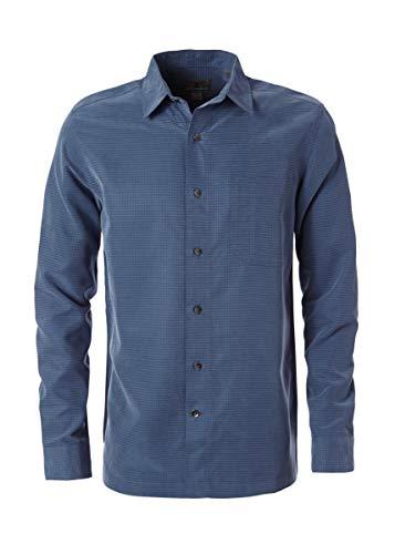Royal Robbins Men's Desert Pucker Dry Long Sleeve Button Down Shirt, Collins Blue, Medium -